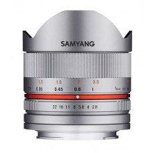Samyang 8mm F2.8 UMC fisheye II Canon M zilver