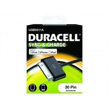 Duracell Apple 30-pin sync & charge kabel 1m zwart