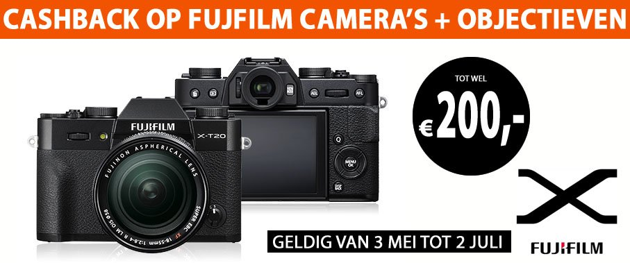 Fujifilm cashback objectieven en systeemcamera's