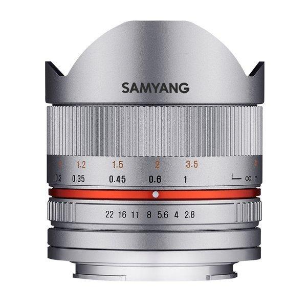 Samyang 8mm F2.8 UMC fisheye II Fuji X zilver