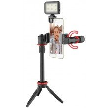 Boya Vlogging kit with BY-MM1+ and smartphone holder + LED