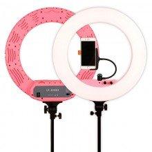Caruba ringlamp LED vloggerset 18 inch roze