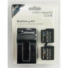 Pro-Mounts Battery Kit Lader en 2 accu's GoPro Hero5, 6 en 7